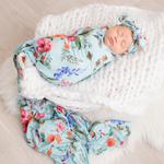 Load image into Gallery viewer, Floral Swaddle - Light Blue