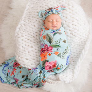 Floral Swaddle - Light Blue