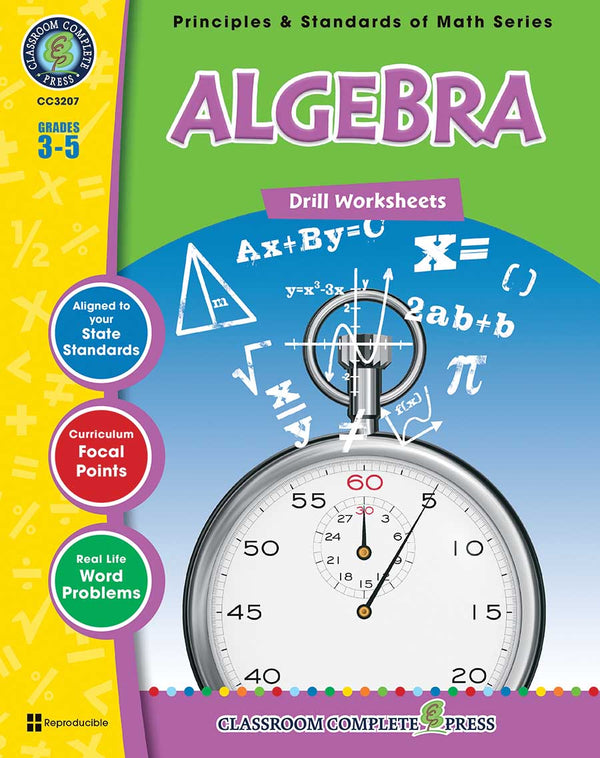 Algebra Drill Sheets (Grades 3-5) - Download Only