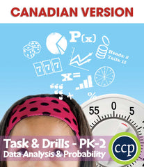 Data Analysis & Probability - Task & Drill Sheets - Canadian Content (PreK-Grade 2) - Download Only