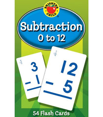 Subtraction 0 to 12 Flash Cards Grade 1-3