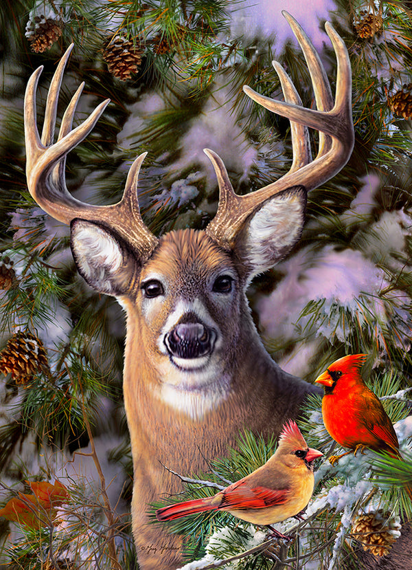 One Deer Two Cardinals