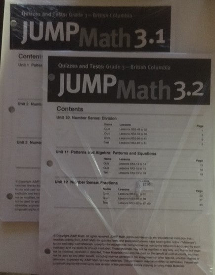 Jump Math Quizzes & Tests 3 1 and 3 2