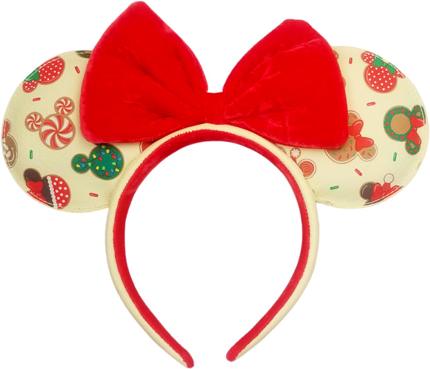 Disney Mickey & Minnie Mouse Ears Christmas Cookie Allover Print Headband