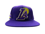 NBA Los Angeles Lakers Embroidered Blended Logo Leather Strap Adjustable Back Cap