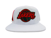 NBA Los Angeles Lakers Team Logo Stripe Leather Strap Adjustable Back Cap