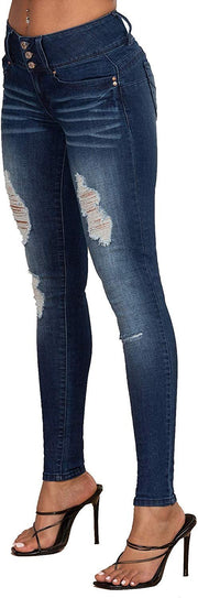 Junior 3-Button Wannabettabutt Denim Skinny Jeans