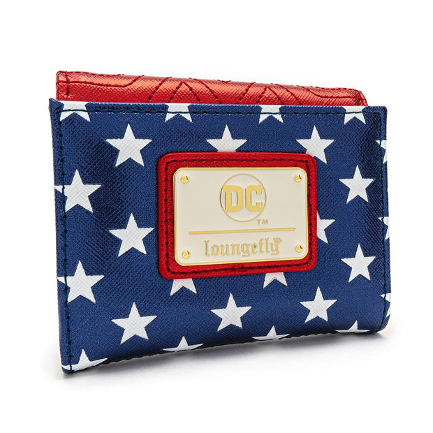 LOUNGEFLY X DC COMICS WONDER WOMAN RED WHITE AND BLUE FLAP WALLET - BACK