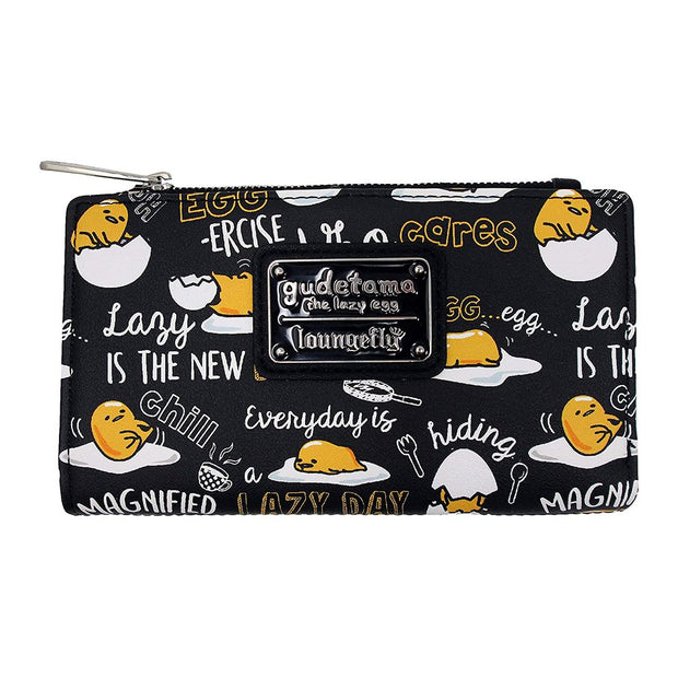 Loungefly x Gudetama the Lazy Egg Black Editorial Allover-Print Wallet - BACK