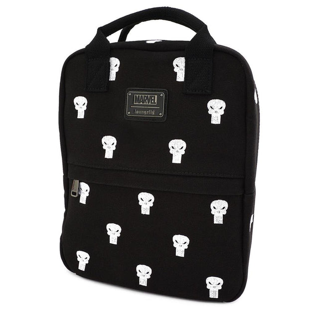 LOUNGEFLY X MARVEL PUNISHER EMBROIDERED CANVAS SQUARE BACKPACK - SIDE