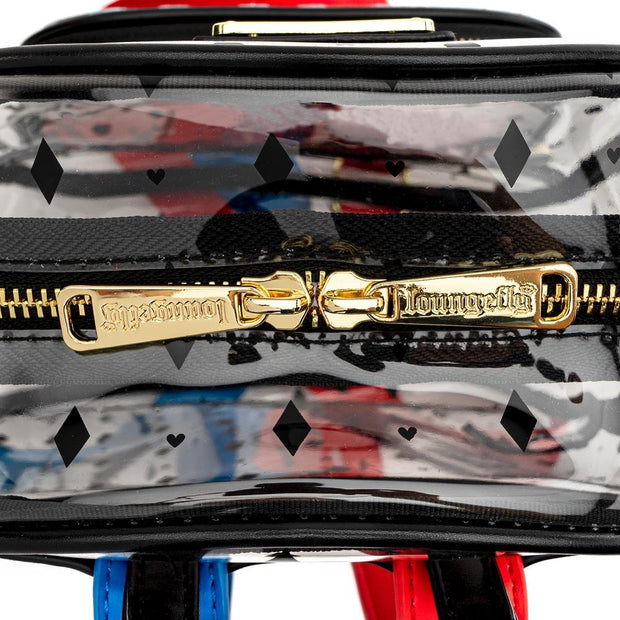 LOUNGEFLY X BIRDS OF PREY HARLEY QUINN CLEAR PVC MINI BACKPACK - ZIPPER