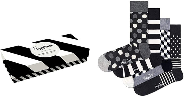 Classic Black & White Socks 4-Pack Gift Box