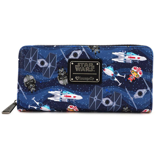 LOUNGEFLY X STAR WARS CHIBI SHIPS PRINT WALLET - FRONT