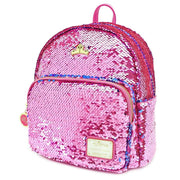 LOUNGEFLY X DISNEY PRINCESS SLEEPING BEAUTY REVERSIBLE SEQUIN MINI BACKPACK - SIDE