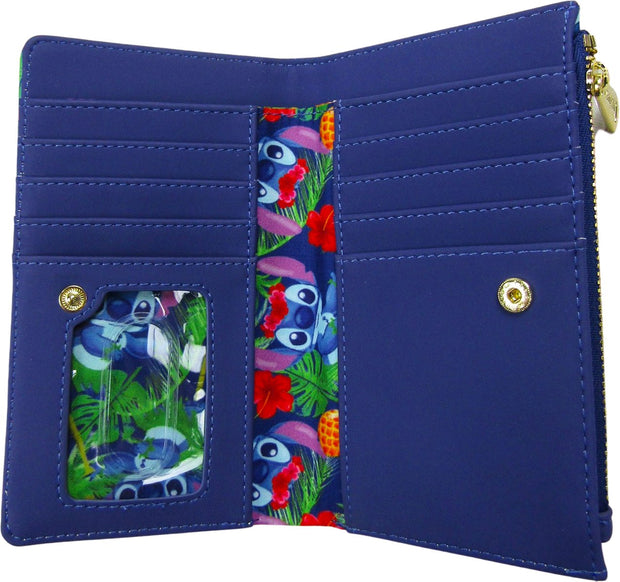 Disney Lilo & Stitch Tropical Leaves Allover Print Flap Wallet
