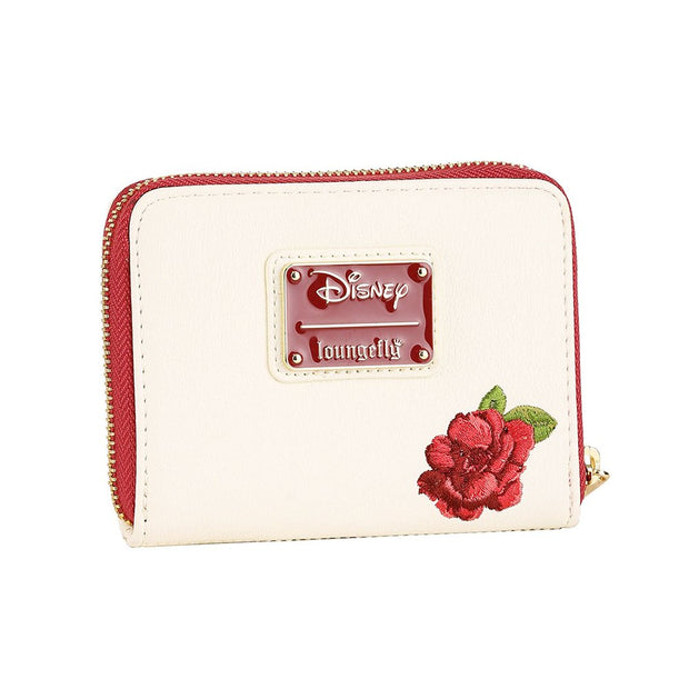 Loungefly Disney Belle Flowers Faux Leather Mini Zip Wallet - BACK