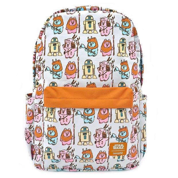 LOUNGEFLY X STAR WARS PASTEL YUB NUB EWOK AOP NYLON BACKPACK - FRONT