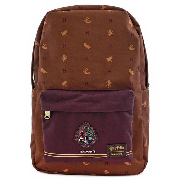 LOUNGEFLY X HARRY POTTER HOGWARTS HOUSES BACKPACK - FRONT