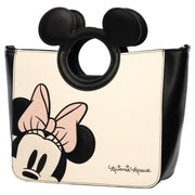 LOUNGEFLY X MINNIE WITH DIE-CUT MICKEY HANDLE TOTE BAG - SIDE