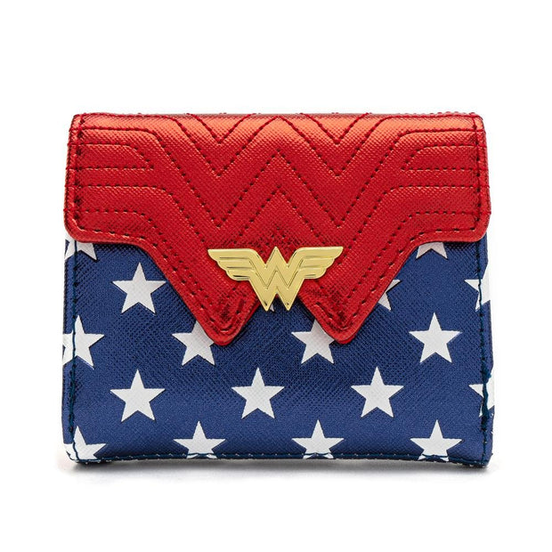 LOUNGEFLY X DC COMICS WONDER WOMAN RED WHITE AND BLUE FLAP WALLET - FRONT