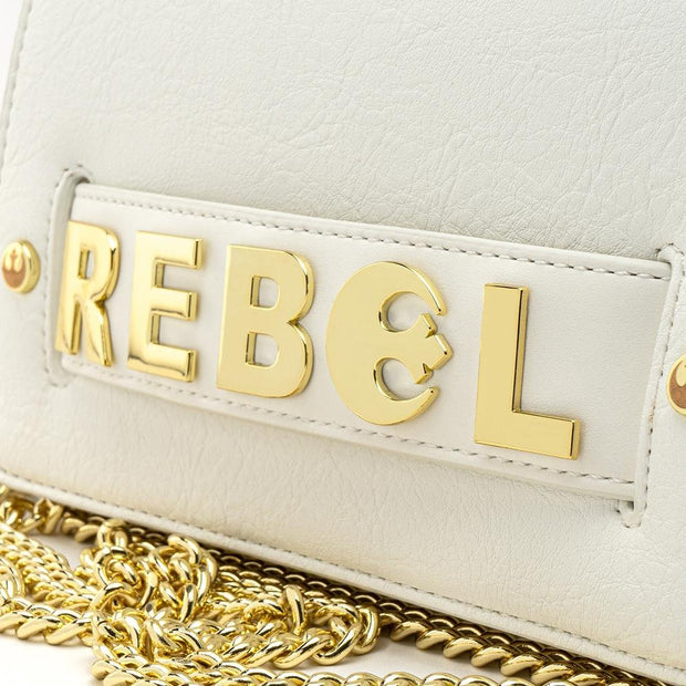 LOUNGEFLY X STAR WARS GOLD CHAIN REBEL CLUTCH CROSSBODY BAG - FRONT DETAIL