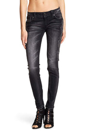 Metallic Embroidered Skinny Jeans