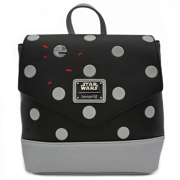 LOUNGEFLY X STAR WARS POLKA DEATH STAR DOT MINI PU BACKPACK - FRONT