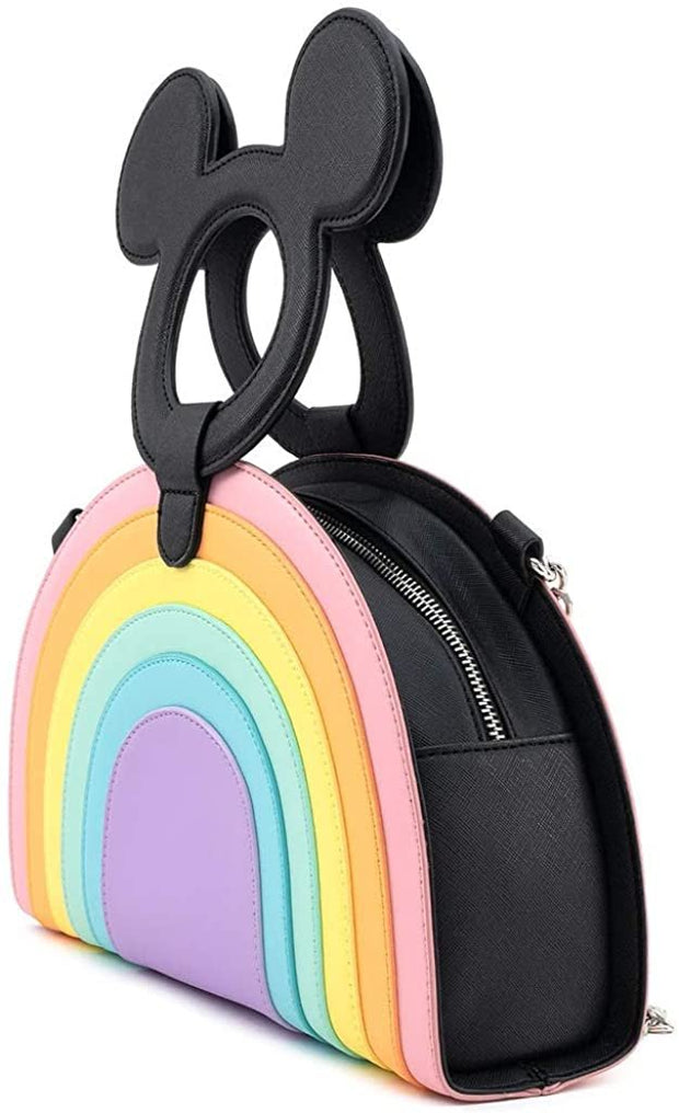 Disney Mickey Mouse Shaped Handle Pastel Rainbow Crossbody