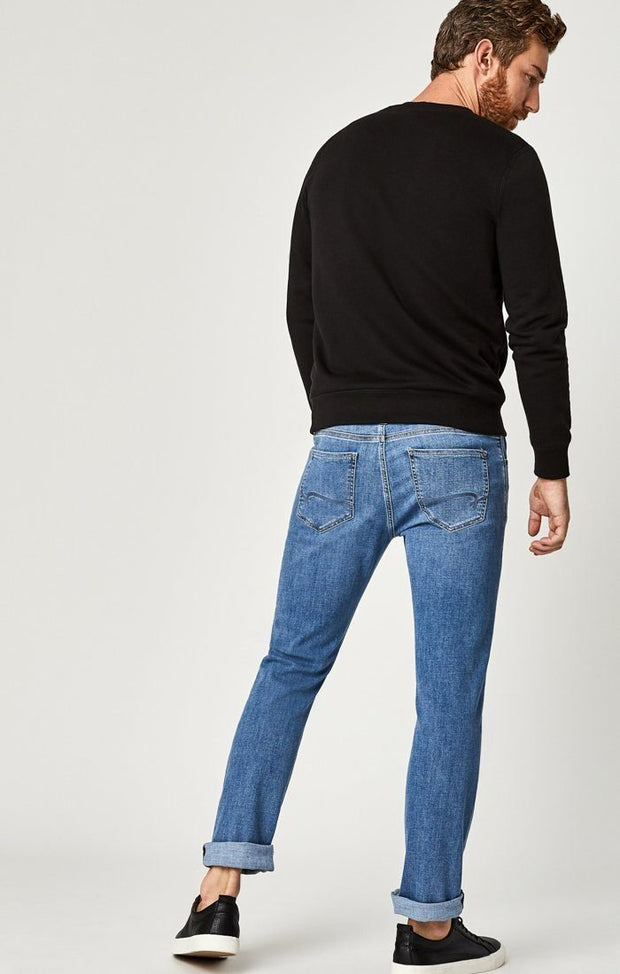 Zach Mid Rise Straight Leg Jeans