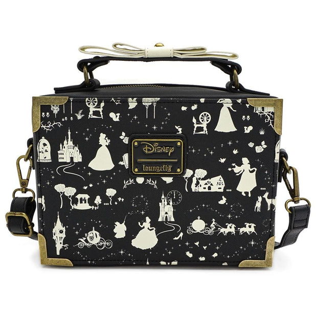LOUNGEFLY X DISNEY PRINCESS BLACK AND WHITE MULTI PRINCESS BOX CROSS BODY BAG - FRONT
