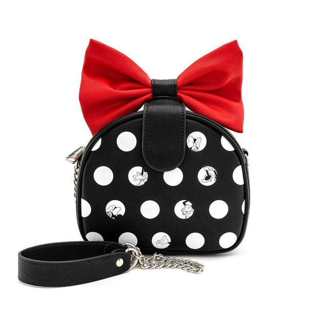 LOUNGEFLY X DISNEY MINNIE MOUSE BIG RED BOW CROSSBODY BAG - FRONT
