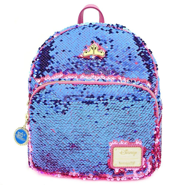LOUNGEFLY X DISNEY PRINCESS SLEEPING BEAUTY REVERSIBLE SEQUIN MINI BACKPACK - RESERVE SEQUIN FRONT
