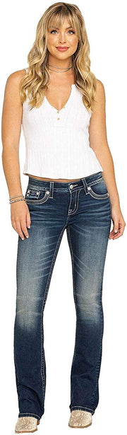 Embellished Crescent Moon Dream Catcher Bootcut Jeans