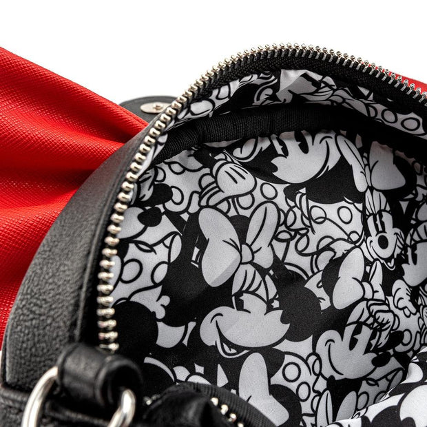 LOUNGEFLY X DISNEY MINNIE MOUSE BIG RED BOW CROSSBODY BAG - INSIDE PRINT