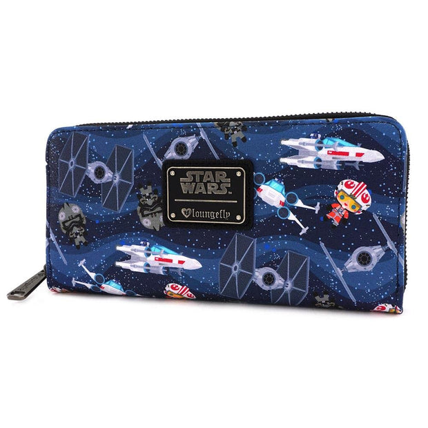 LOUNGEFLY X STAR WARS CHIBI SHIPS PRINT WALLET - SIDE