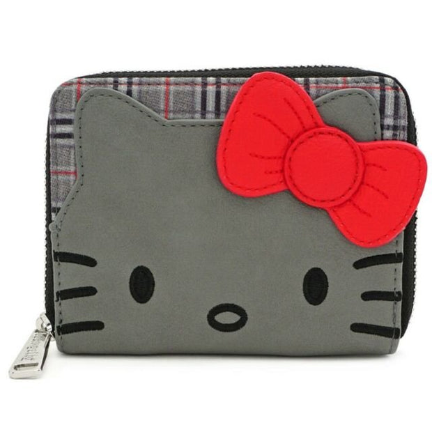 Loungefly x Hello Kitty Faux-Leather Plaid Zip-Around Wallet - FRONT