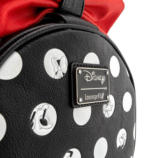 LOUNGEFLY X DISNEY MINNIE MOUSE BIG RED BOW CROSSBODY BAG - SIDE DETAIL
