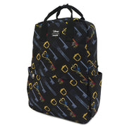 LOUNGEFLY X DISNEY KINGDOM HEARTS AOP KEYS NYLON SQUARE BACKPACK _ SIDE