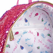 LOUNGEFLY X DISNEY PRINCESS SLEEPING BEAUTY REVERSIBLE SEQUIN MINI BACKPACK - INSIDE PRINT