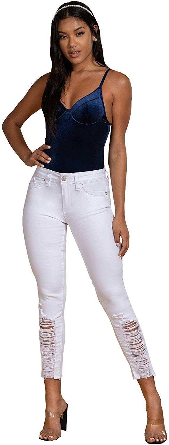 Junior Mid-Rise Wannabettabutt Distressed Denim Skinny Jeans