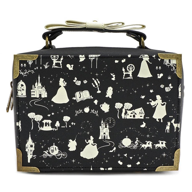 LOUNGEFLY X DISNEY PRINCESS BLACK AND WHITE MULTI PRINCESS BOX CROSS BODY BAG - BACK