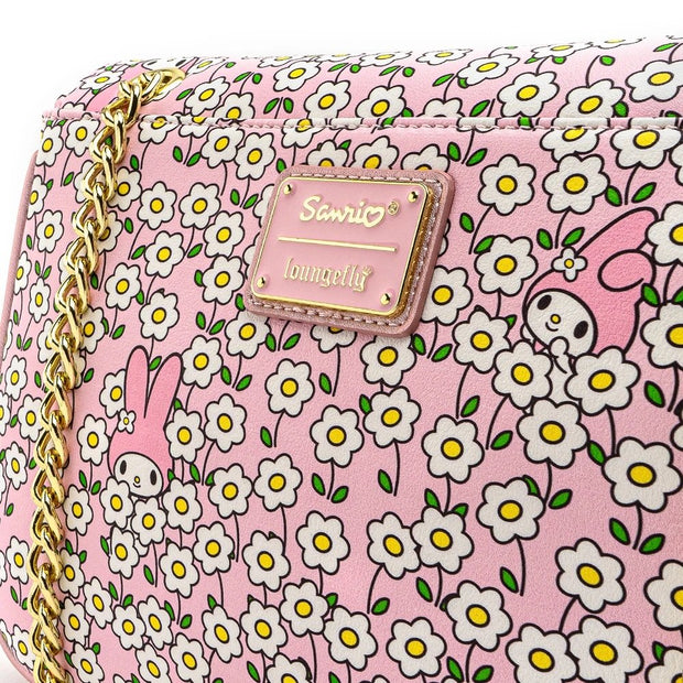 Loungefly x Sanrio My Melody Flower Field Patterned Crossbody Purse - LOGO