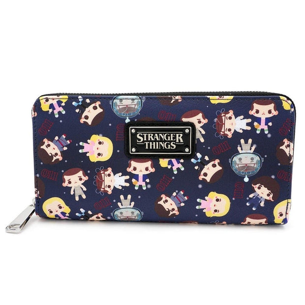 Loungefly x Stranger Things Eleven All-Over Print Zip-Around Wallet - FRONT