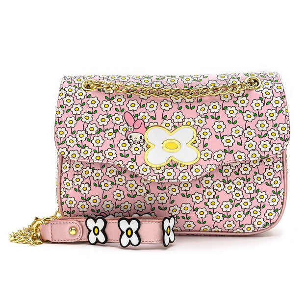 Loungefly x Sanrio My Melody Flower Field Patterned Crossbody Purse - FRONT