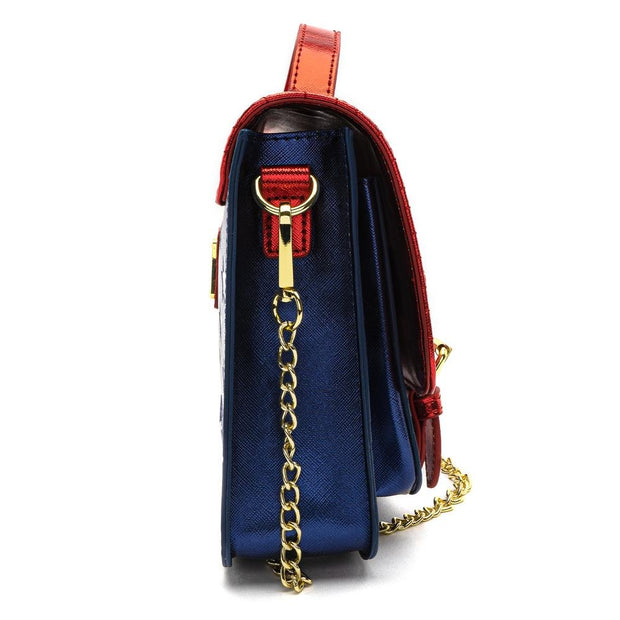 LOUNGEFLY X DC COMICS WONDER WOMAN RED WHITE AND BLUE GOLD CHAIN CROSSBODY BAG - SIDE