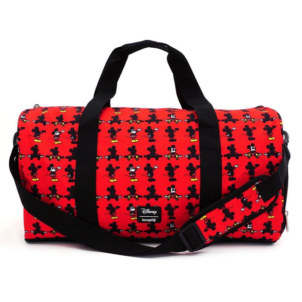 LOUNGEFLY X DISNEY MICKEY MOUSE PARTS AOP NYLON DUFFLE BAG - FRONT