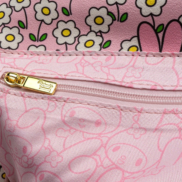 Loungefly x Sanrio My Melody Flower Field Patterned Crossbody Purse - ZIPPER