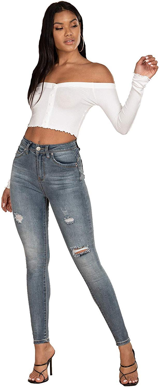 Junior Eco-Friendly Wannabettabutt Distressed Denim Skinny Jean Made with Recycled Fibers