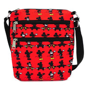 LOUNGEFLY X DISNEY MICKEY MOUSE PARTS AOP NYLON PASSPORT BAG - FRONT