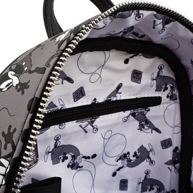 LOUNGEFLY X DISNEY MICKEY MOUSE PLANE CRAZY MINI BACKPACK - INSIDE PRINT